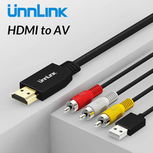 Unnlink 1.5m HDMI to AV 3RCA Cable HDMI to CVBS Video Audio Adapter Wire for Old TV Smart Android Set-top Box Projector Monitor цена в Москве и Питере
