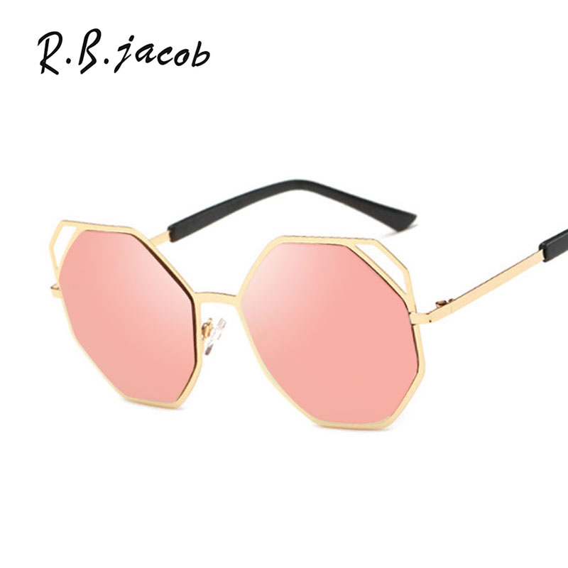 Brand Designer 2016 New Korea Trend Women Cat Eye Sunglasses Hexagon Polygon Sunshades Lady UV400 Mirror Cool Sun Glasses