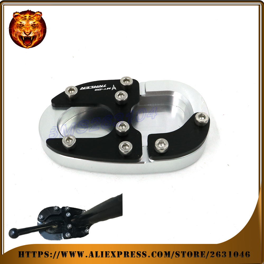 For YAMAHA MT09 Tracer 2015 2016 Motorcycle Side Kickstand Stand Extension Support plane Plate with logo