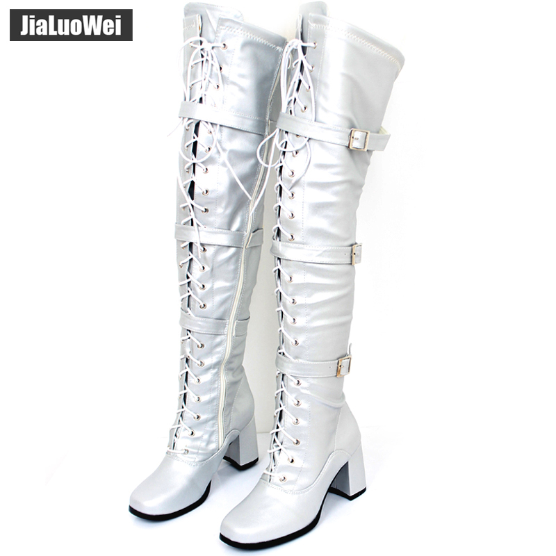 30ae91c030 jialuowei Women Boots Retro Block High Heel Ladies Over-The-Knee Square Toe  Lace