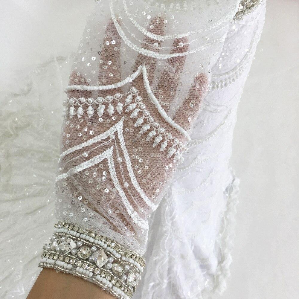 šitý na míru šatek Mermaid Svatební šaty 2015 dlouhé rukávy V - Svatební šaty - Fotografie 5
