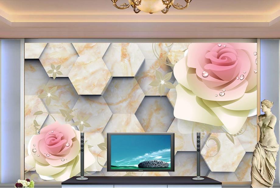 ФОТО customize 3d luxury wallpaper Hexagon rose 3d wall paper photo murals bedroom wallpaper papel pintado moderno