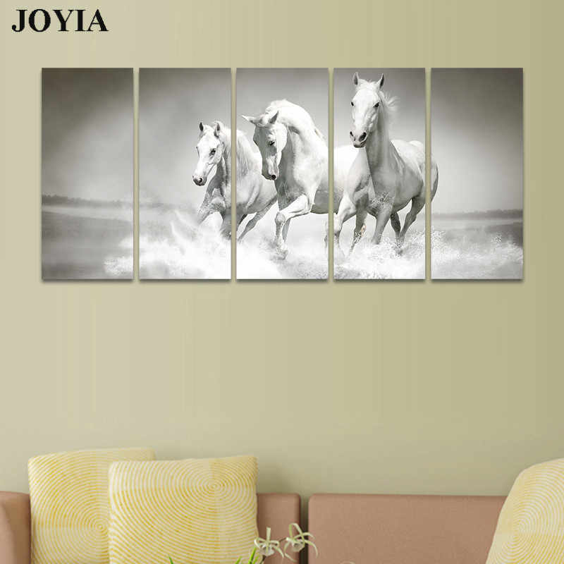 Canvas Art Horse Paintings Wild White Horses Wading Decor 5 Pieces Pictures Set Living Home Modern Gallery Artwork Gray No Frame