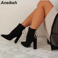 Aneikeh Ladies Boots Square heel Fashion PU Leather Ankle Boots Pointed Toe High Heels Sexy Ladies Shoe Pump Size 40 Black