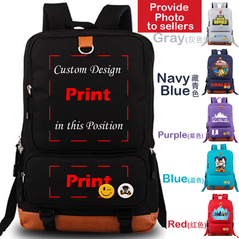 DIY image Logo print custom travel backpack for teenagers canvas school bags laptop bag camping hiking