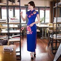 Blue Embroidery Cheongsam Gown Chinese Traditional Party Dresses Silk Qipao Sexy Oriental Evening Dress Long Qi Pao Cheongsams