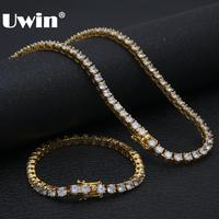 Uwin 5mm Cubic Zirconia Jewelry Set Round Iced Out CZ Necklace&Bracelet Fashion Crystal 1 Row Tennis Chains Sets Drop Shipping