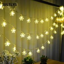 JULELYS 30M 300 נורות גרלנד LED שלג מחרוזת אורות Gerlyanda חג המולד קישוט עץ לחג המולד חגורת אור שרשרת