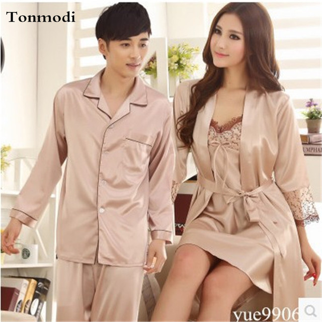 Women's Silk Long Robe Love Men Silk Pyjamas Solid Luxury Nightshirts Nightwear Women's Lounge Robe Gown Sets