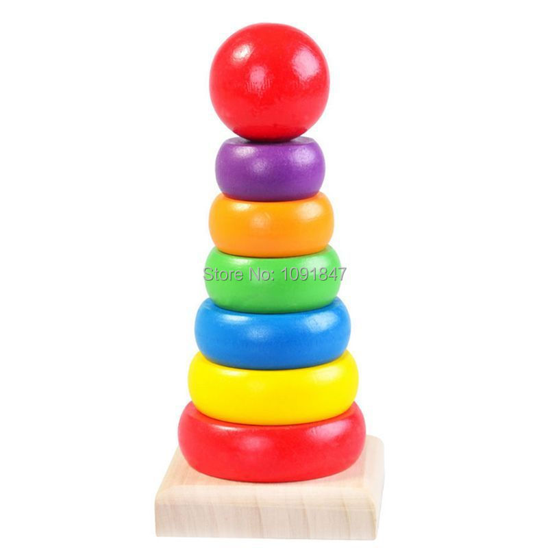 Rainbow Tower Wooden Childrens Toys 7 Colour Ring Folding High Educational Fun
