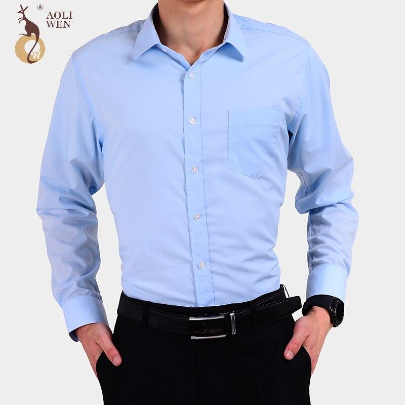 Aoliwen 2017 nueva moda de otoño ropa de hombre de manga larga de Color sólido rayas Casual algodón camisa de la ropa de los hombres de la sociedad