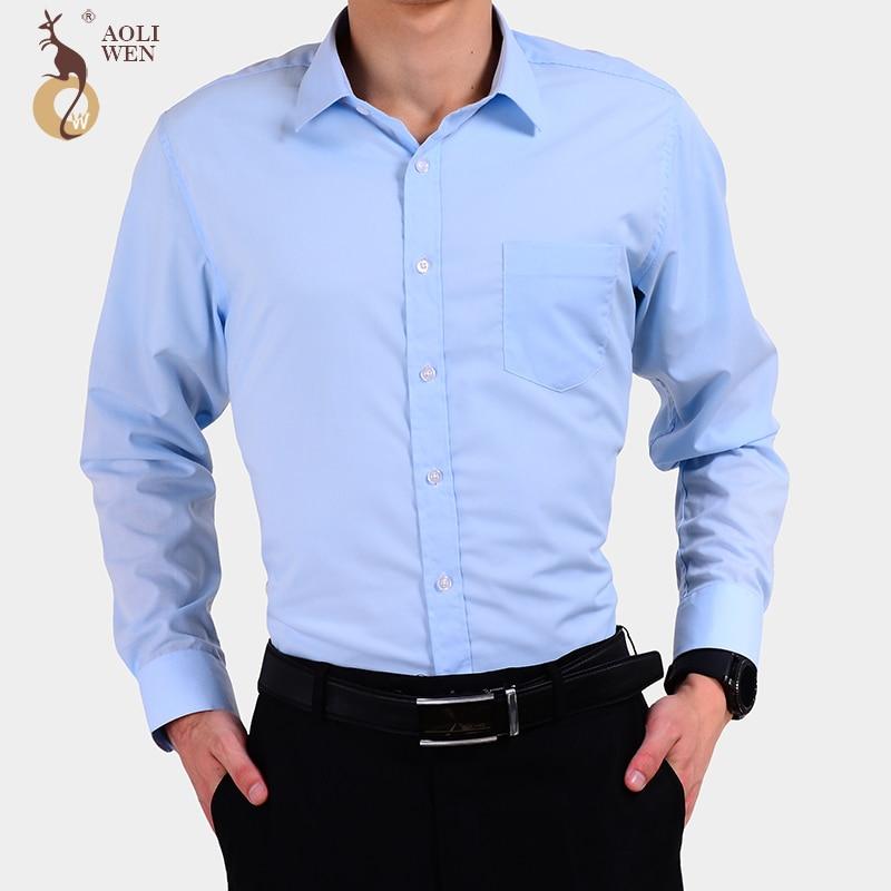 Aoliwen Новинка 2017 года Осенняя мода Для мужчин одежда Для мужчин; одежда с длинным рукавом одноцветное Цвет в полоску Повседневное хлопок Общество Мужская одежда рубашка