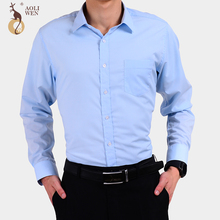Aoliwen 2018 New Autumn Fashion Men's Clothes Men's Long Sleeves Solid Color Stripes Casual Cotton Society Men's Clothing Shirt