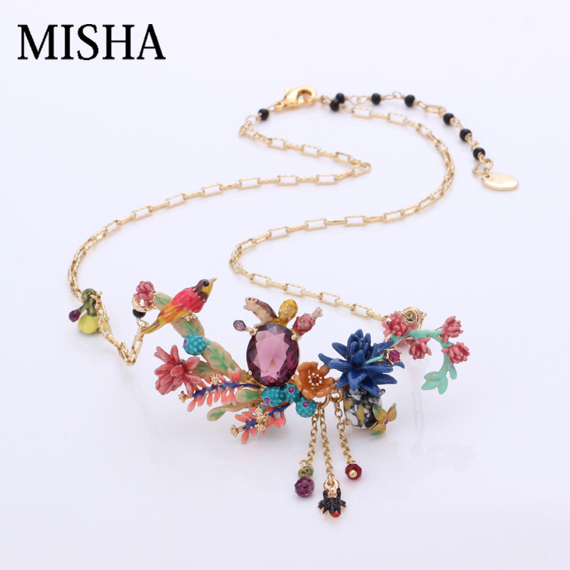 MISHA luxury necklace women Pendant Necklace desert cactus The bird gems Quality Fine Jewelry Party Necklaces For Women L570 vintage bird wings necklace for women