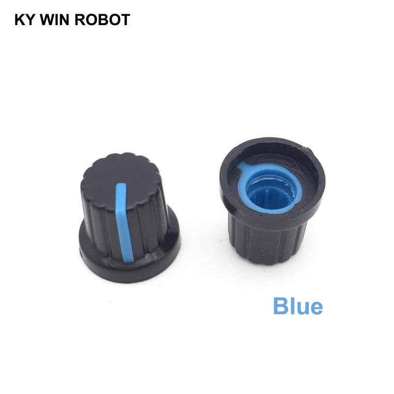 10PCS /lot Blue Volume Control Rotary Knobs For 6mm Dia Knurled Shaft Potentiometer Durable