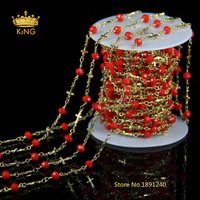 Red Crystal Glass Rondelle Beads Chain Necklace Gold Cross Locket Chains Brass Chain For DIY Jewelry