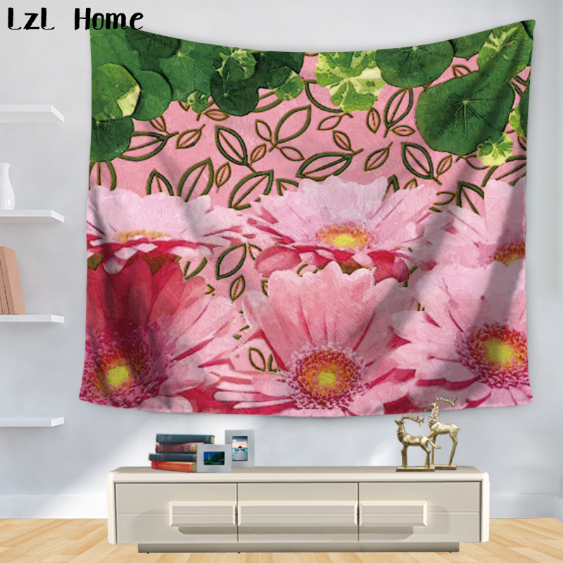 LzL Home 3d Oil Painting Blossom Brilliant Flowers Tapestry Vivid Daisy Wall Hanging Boho Beach Throw Towel Yoga Mat Bedspread
