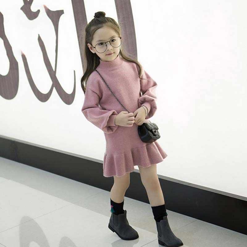 Вязаные платья для маленьких девочек; платье русалки для детей; платье-свитер для девочек; осенний Хлопковый вязаный шерстяной свитер с длинными рукавами; осеннее платье