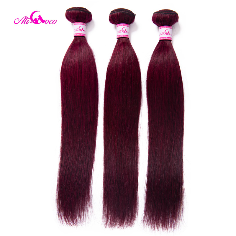 Ali Coco Brazilian Straight Burgundy Hair Bundles #99 Bold Red 1/3/4 Bundles Human Hair Weave Bundle Deals Remy Hair Extensions