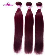 Ali coco Brazilian Straight Burgundy Hair Bundles #99 Bold Red 1/3/4 Bundles Hum