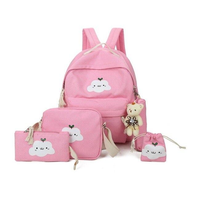 91783d15b313 Canvas Backpacks Clouds Printing Women Backpack High Quality School Bags  For Teenage Girls Cute Bookbags Mochila 5 set nbxq187