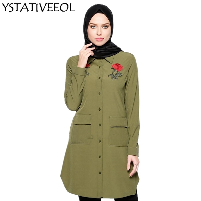 Camisa Superior das Mulheres muçulmanas Abaya Vestido com bolsos Oriente médio Robe Marroquino Jubah Ramadan Árabe Culto Islâmico Roupas