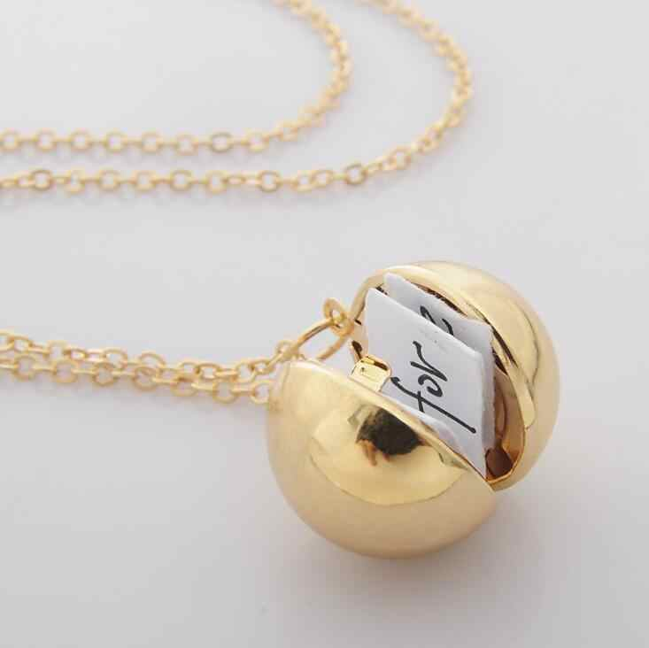 2018 New Handmade Gold Secret Message Ball Locket pendant Necklace Suspensions Friendship Best Friend for Women Men Girl Gifts