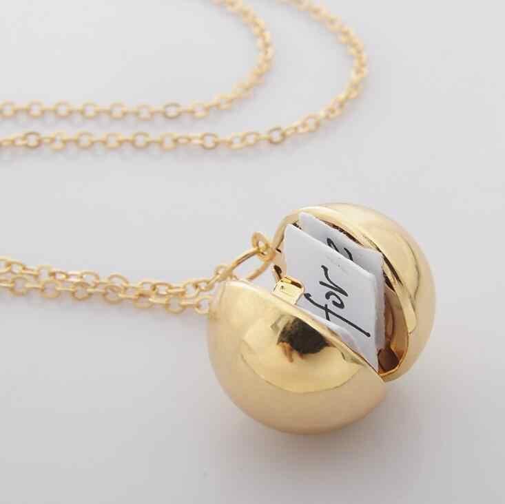 2018 nowe ręcznie robione złoto tajne wiadomość piłka wisiorek medalion naszyjnik zawieszenia przyjaźń najlepszy przyjaciel dla kobiet mężczyzn dziewczyna prezenty