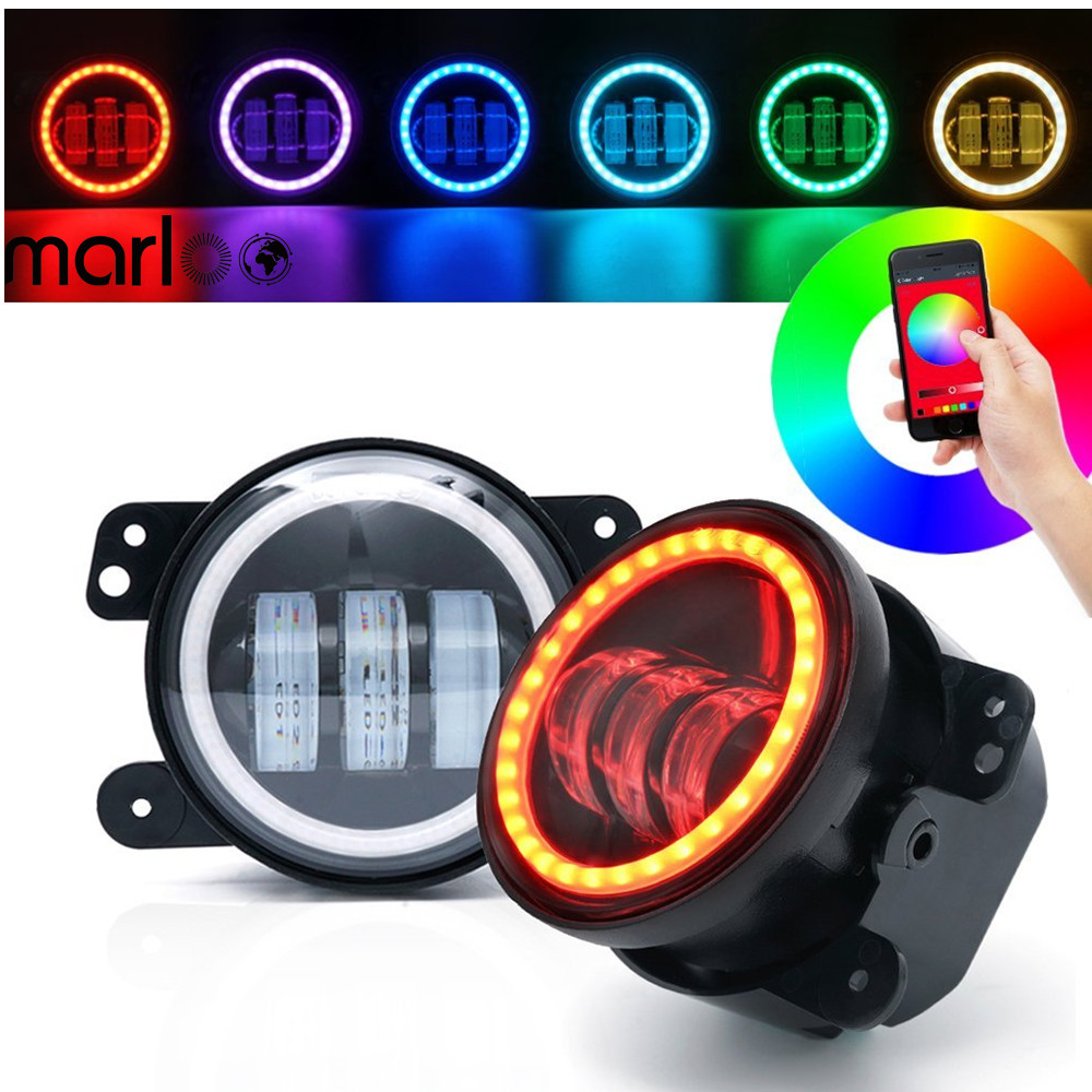 Marloo DOT 4 Inch RGB Led Fog Lights W/ RGB Halo Ring DRL For Jeep Wrangler 97-17 JK TJ LJ Off Road Fog Lamps