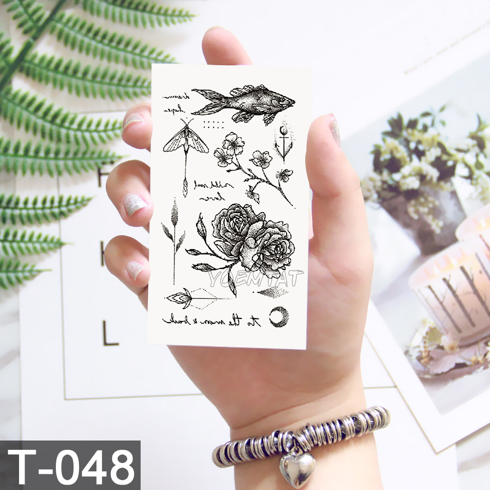 New Waterproof Temporary Tattoo sticker old school rose pattern tattoo Water Transfer tattoo flash tattoo 5