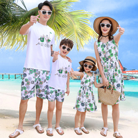 Dad Son Bicycle T shirt and Stone Leaves Shorts 2PCS Set Summer Holiday Family Matching Outfit Mom Daughter Casual Chiffon Dress