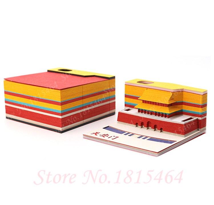 3D Tiananmen Notities Papier Creatieve Papier Netto Rode Stereo Stickers Aanwezig Wereld Architectonische DIY Cultuur Model Gift Decoratie - 4