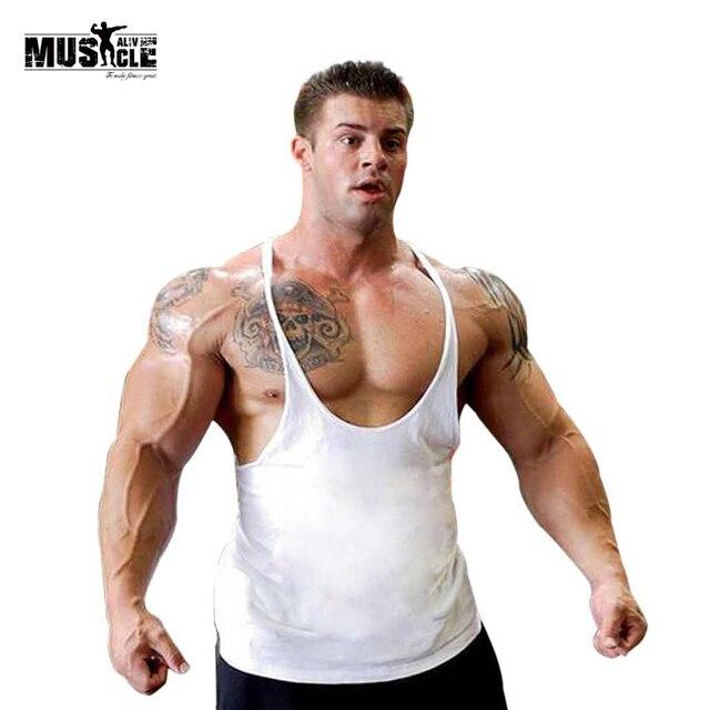 3d27d22e97225 XBPL Plain Muscle Undershirt Men Bodybuilding Tank Top Fitness Singlet Weight  Lifting Sleeveless Shirt Cotton 1CM Strap Boy