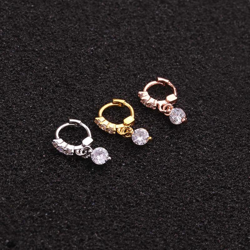 Sellsets 1 Buah Mewah Kuning Warna Rose Gold CZ Menjuntai Tragus Daith Benteng Tulang Rawan Hoop Anting-Anting Tindik Telinga Perhiasan