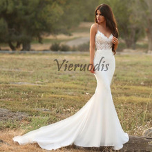 Vieruodis Gorgeous Satin Mermaid Wedding Dress with Lace