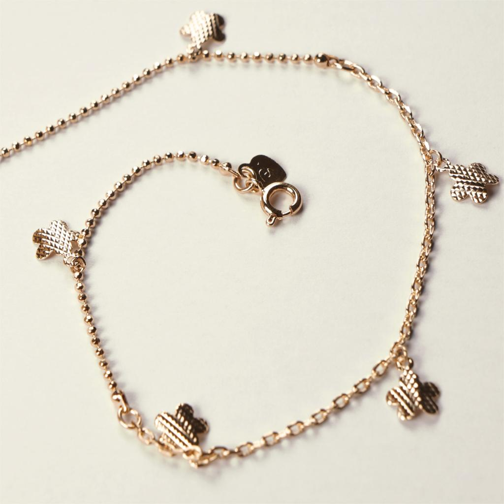 Rose gold plated anklets with cute flower pendants