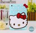 Envío de la Nueva 3D Cute Hello kitty de silicona Suave Casos De Goma caso de la cubierta para apple ipad mini 1 2 3 para ipad mini
