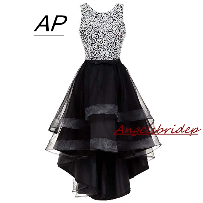 2019 High/Low Mini Homecoming Dresses 8 Grade Graduation Dresses Sexy Hollow Back Top Full Sparkly Sequins Formal Party Gowns