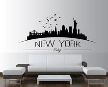 New York Skyline Cityscape Silhouette Vinyl Wall Sticker Office Dormitory Living Room Home Decor Decal CS07