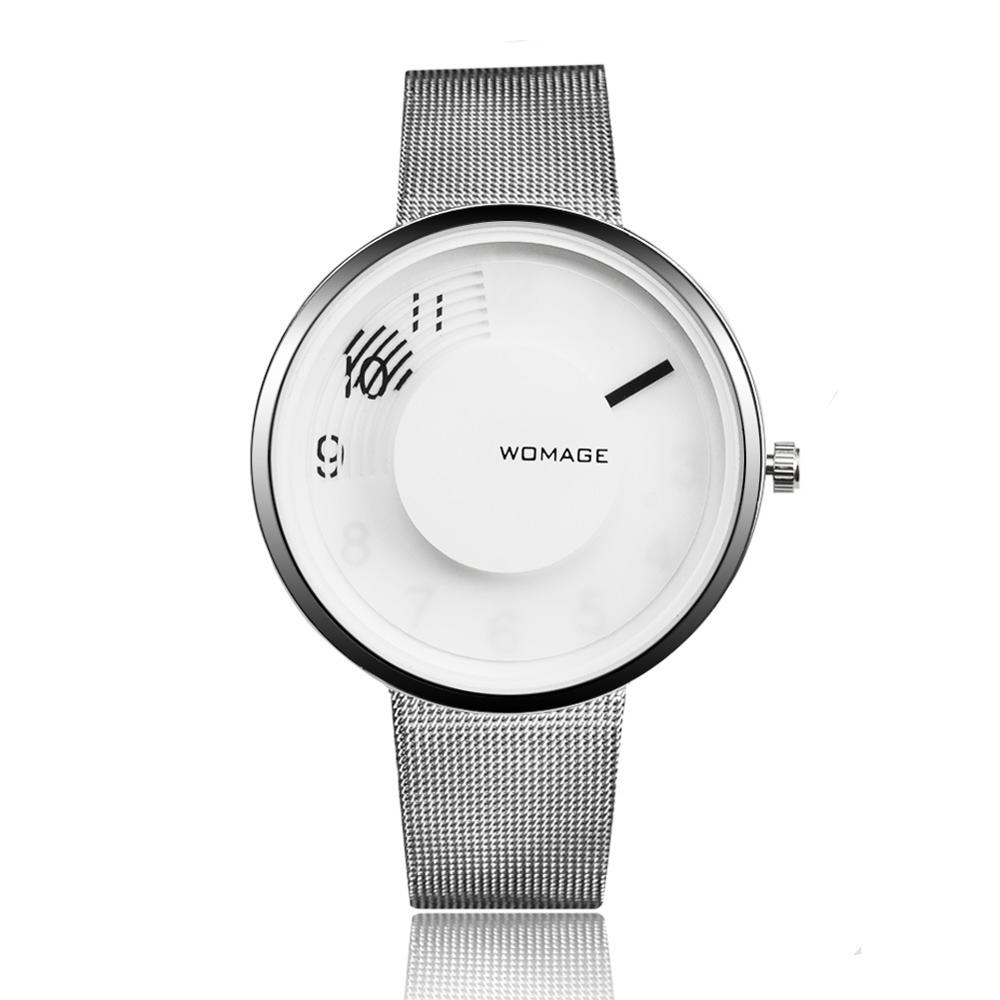 Womage Steel Watches Women Dress Watches hour clock Men Fashion Casual watch Unisex Quartz Sports Watches