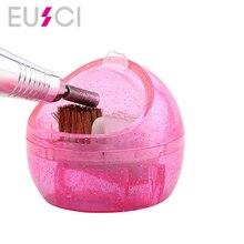 Nail Art Dual Clean Brush Head Drill Bit Cleanser Box Polishing Buffing Manicure Bits Dust Clean Remove Mini Cleaning Case цена 2017