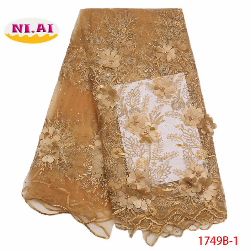 Gold French African 3D Net Tulle Lace Fabric 2018 High Quality Lace Nigerian Mesh Laces Material
