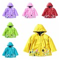 2-7T Hot Sale 2016 New Autumn/Winter Girls Coat Baby Clothes Flowers Hooded Waterproof Windproof Raincoat Coat Print Flower