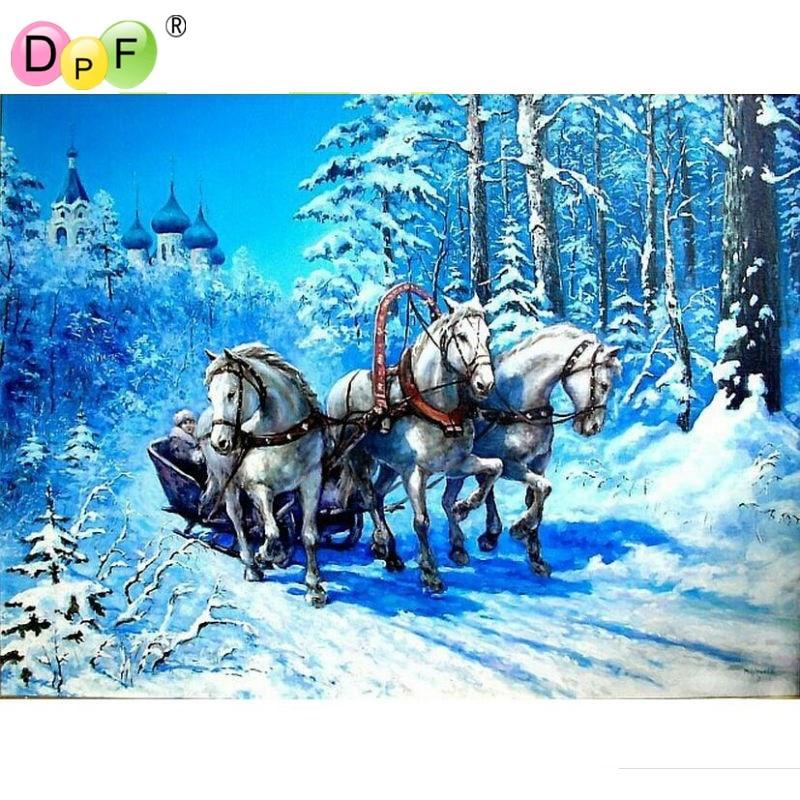 Snow world horse Diamante pintura animal diamante punto de cruz - Artes, artesanía y costura - foto 1
