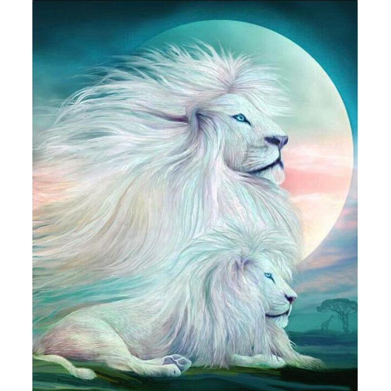 Hobbies and Crafts Square Diamond Embroidery Painting White Lion King Diamond Mosaic Home Decor Full Rhinestone Cross Stitch