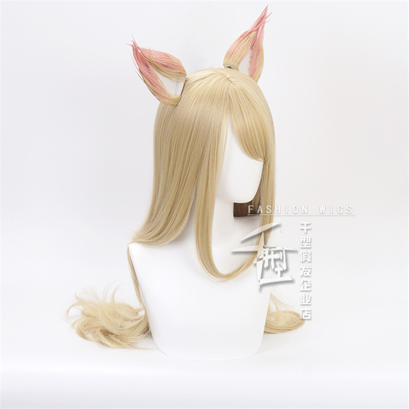 LOL KDA Cosplay Costume Wig Ear Game LOL Ahri Cosplay Costume Wig Women Outfit K DA Group LOL Cosplay Wig in Movie TV costumes from Novelty Special Use