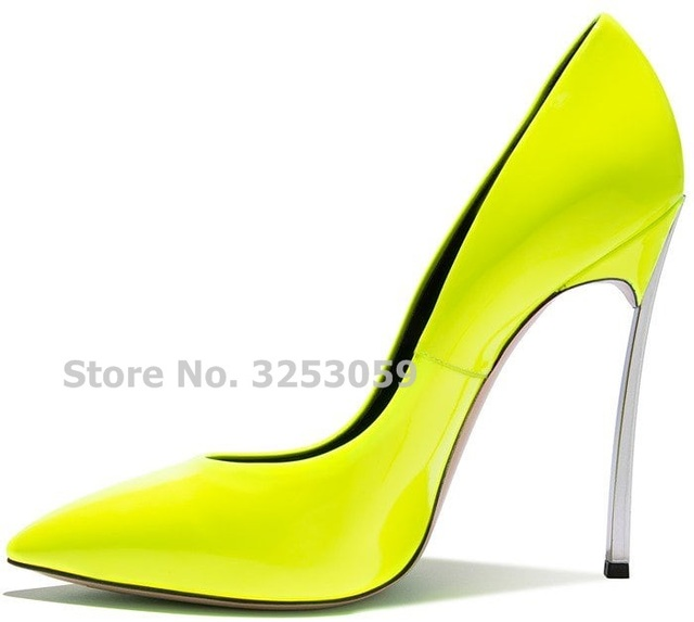 ALMUDENA Charming Fluorescent Color Neon Yellow Pink Metal Heel Banquet  Shoes Young Ladies Office Dress Pumps Pointed Toe Heels d659359be194