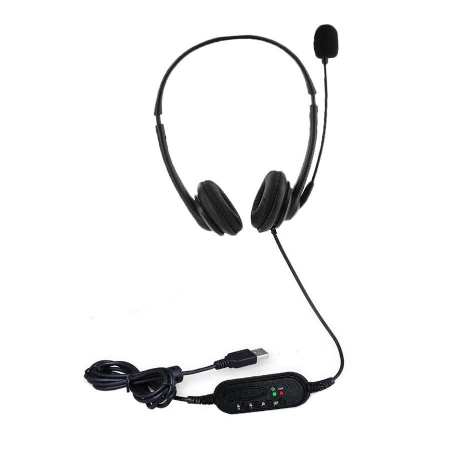 Headset Surround Stereo Headband Headphone USB 2.0 With Mic Earphone For PC Skype Game цена