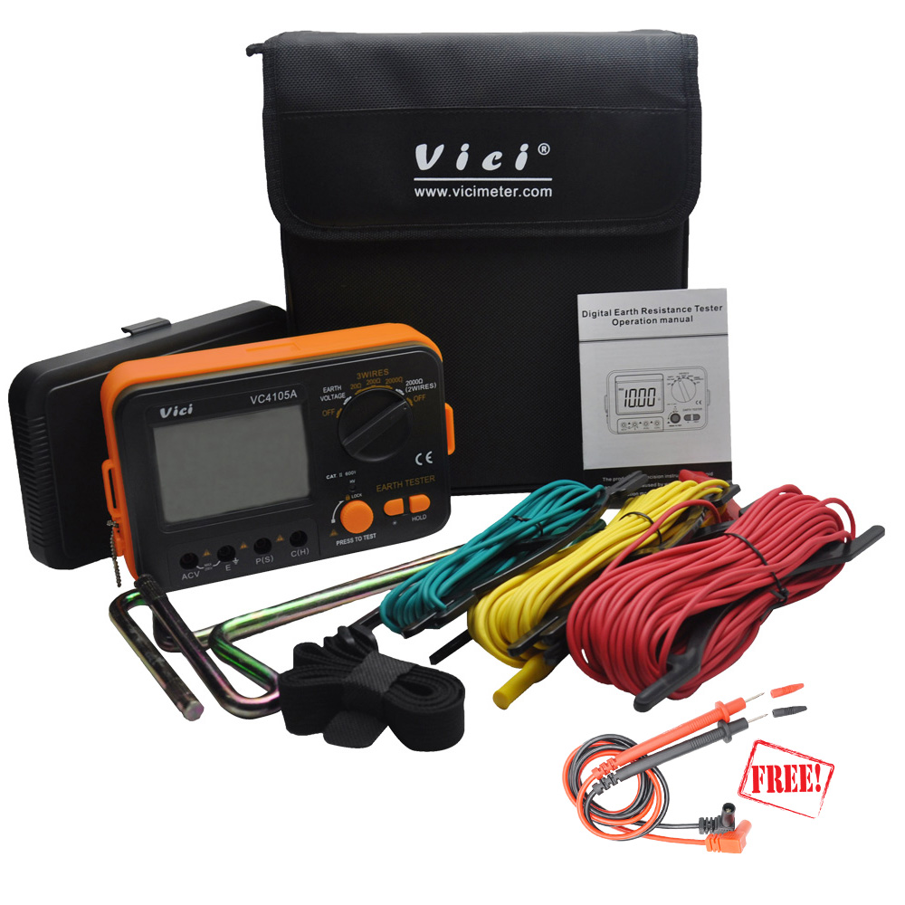VICI VC4105A Earth Resistance Tester Ground LCD Digital Resistance Voltage Meter Lightning Rod Measuring Instrument ToolsVICI VC4105A Earth Resistance Tester Ground LCD Digital Resistance Voltage Meter Lightning Rod Measuring Instrument Tools