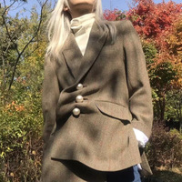 Ruique 2018 Women Autumn New Pearl Buckle Irregular Self cultivation Suit Women Female Retro Style Blazers Long Sleeve Coat